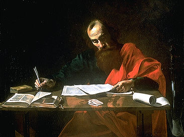 Apostle Paul writing at a desk